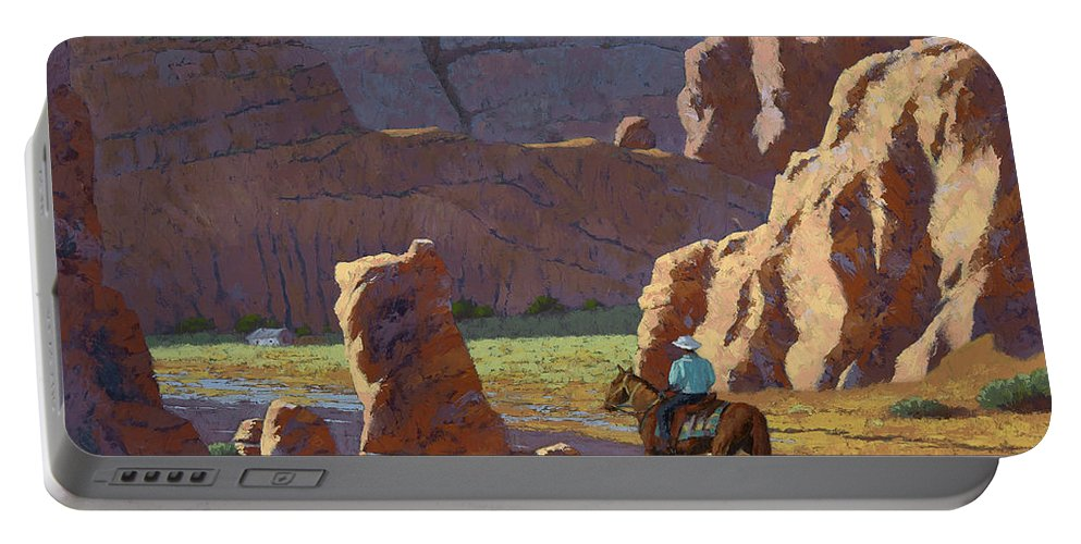 Landscape Portable Battery Charger featuring the painting Home After The Storm by Kenneth Requard