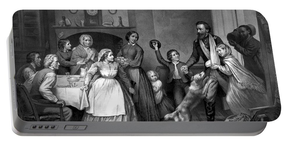 Coming Home Portable Battery Charger featuring the painting Home Again - Civil War by War Is Hell Store