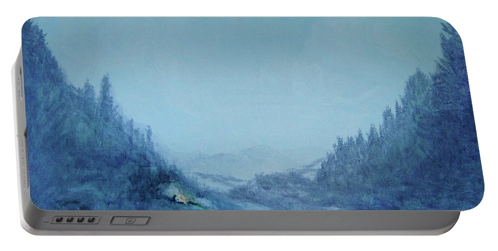 Landscape Portable Battery Charger featuring the painting Home And Hearth 3 by Kathleen Sandoval