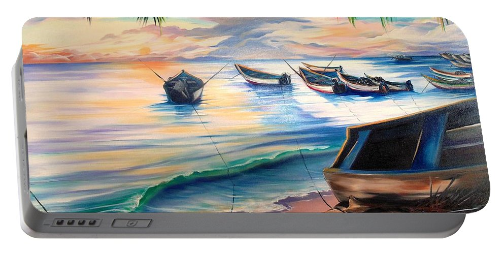 Ocean Painting Caribbean Painting Seascape Painting Beach Painting Fishing Boats Painting Sunset Painting Blue Palm Trees Fisherman Trinidad And Tobago Painting Tropical Painting Portable Battery Charger featuring the painting Home From The Sea by Karin Dawn Kelshall- Best