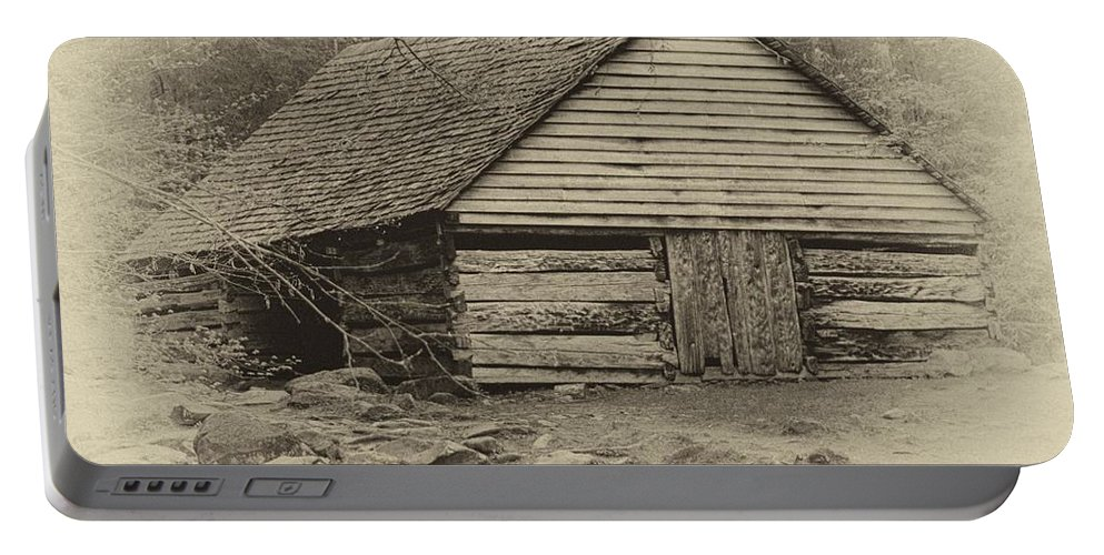 Ann Keisling Portable Battery Charger featuring the photograph Home In The Woods Sepia by Ann Keisling