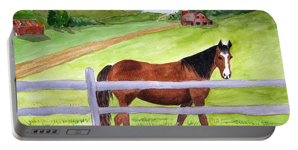 Horse Portable Battery Charger featuring the painting Home On The Farm by Julia RIETZ