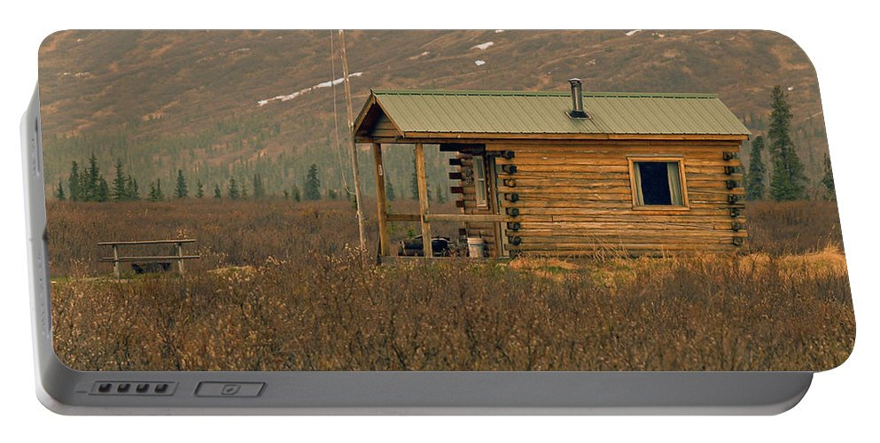 Log Cabin Portable Battery Charger featuring the photograph Home Sweet Fishing Home In Alaska by Denise McAllister