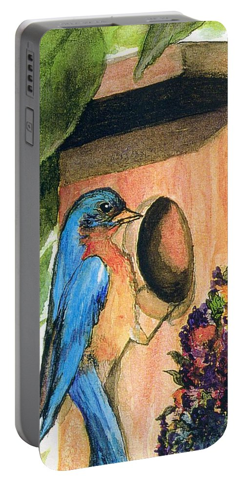 Bluebirds Portable Battery Charger featuring the painting Home Sweet Home by Gail Kirtz
