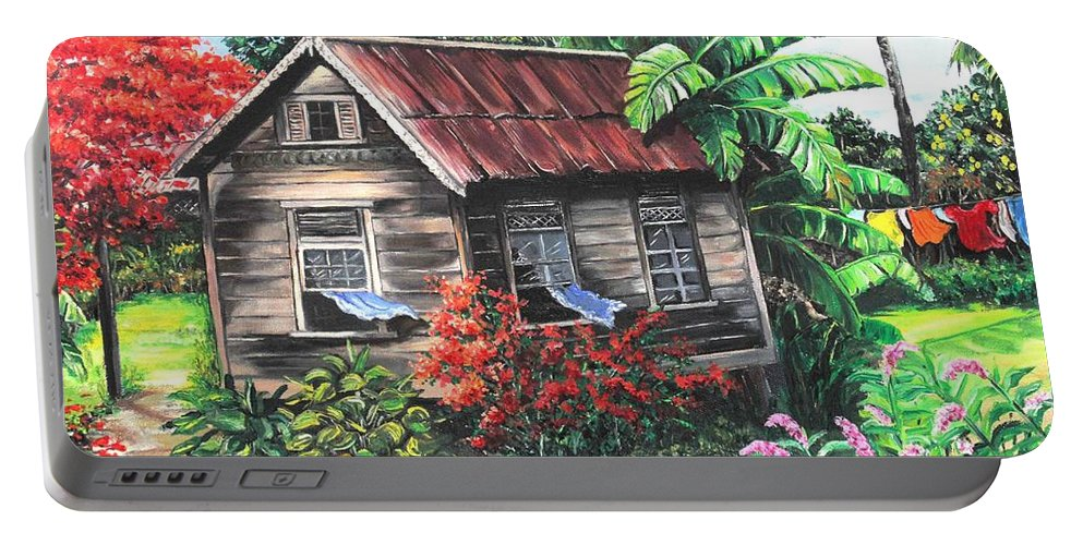Caribbean House Portable Battery Charger featuring the painting Home Sweet Home by Karin Dawn Kelshall- Best