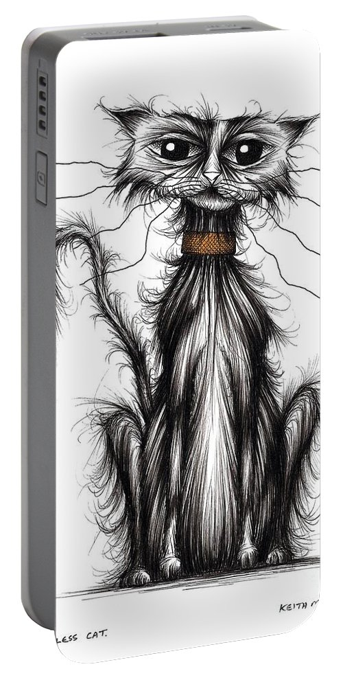 Homeless Portable Battery Charger featuring the drawing Homeless Cat by Keith Mills