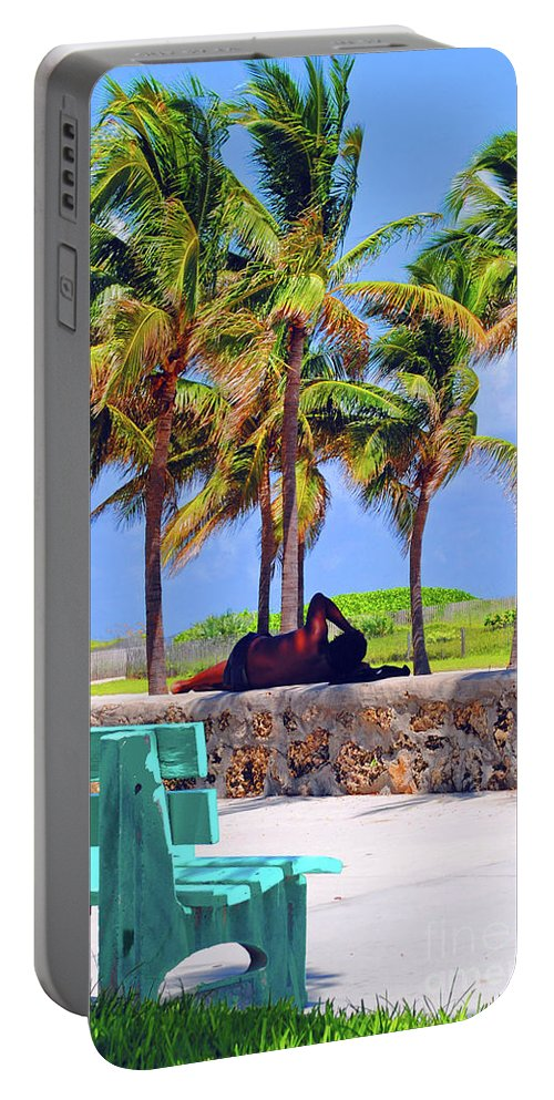 Miami Portable Battery Charger featuring the photograph Home On The Beach by Jost Houk
