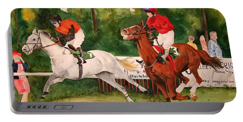 Racing Portable Battery Charger featuring the painting Homestretch by Jean Blackmer