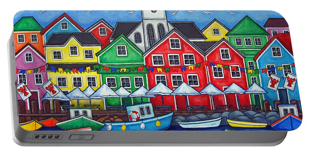 Boats Canada Colorful Docks Festival Fishing Flags Green Harbor Harbour Portable Battery Charger featuring the painting Hometown Festival by Lisa Lorenz