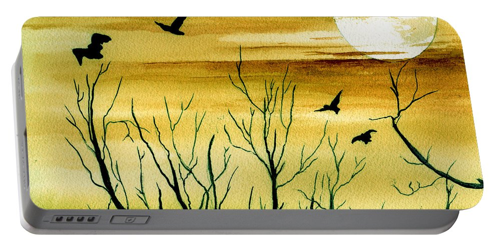 Landscape Watercolor Birds Ravens Crows Trees Sun Sunset Sky Clouds Portable Battery Charger featuring the painting Homeward by Brenda Owen