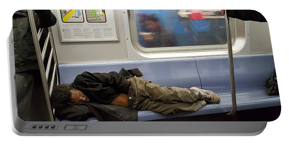 Urban Portable Battery Charger featuring the photograph Homeless In Motion by Rob Hans