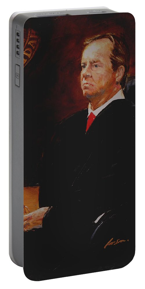 Judge Idaho Appellate Supreme Court Portable Battery Charger featuring the painting Hon. David W. Gratton, Idaho Supreme Court by Peter Iverson