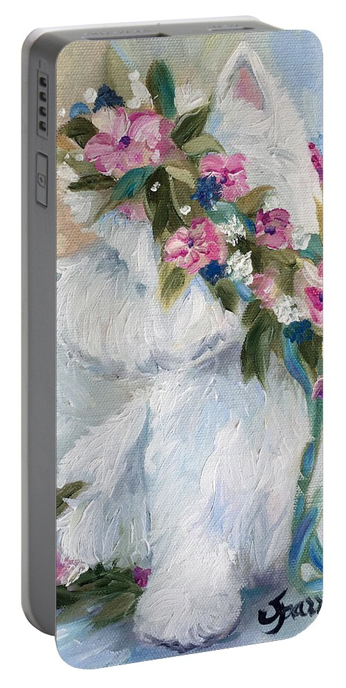 Westie Portable Battery Charger featuring the painting Honey by Mary Sparrow