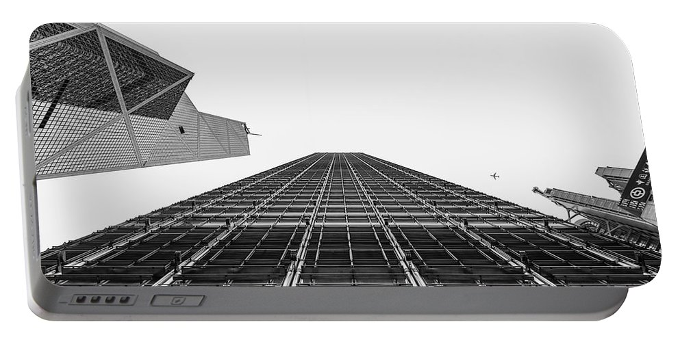 Hong Kong Buildings Portable Battery Charger featuring the photograph Hong Kong Building Black And White by Charles King