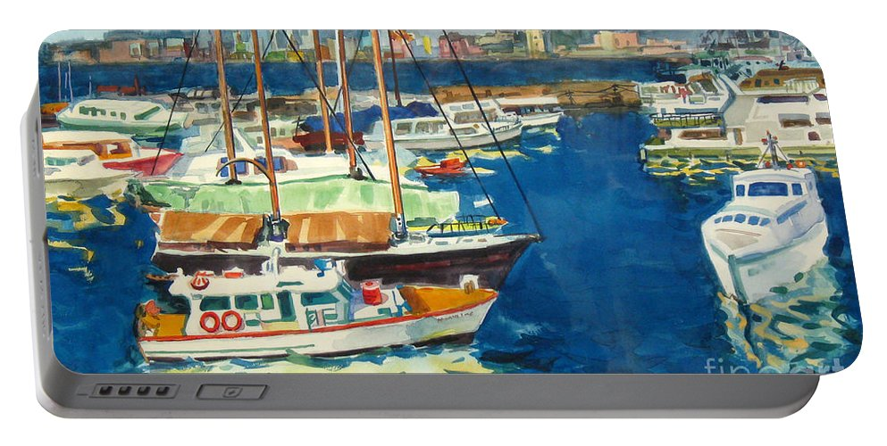Boats Portable Battery Charger featuring the painting Hong Kong Victoria Harbor by Guanyu Shi