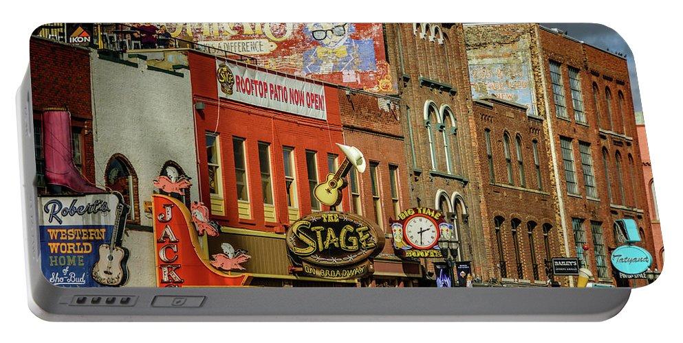 Honky Tonk Row - Nashville Tn Portable Battery Charger featuring the photograph Honky Tonk Row - Nashville Tn by Debra Martz