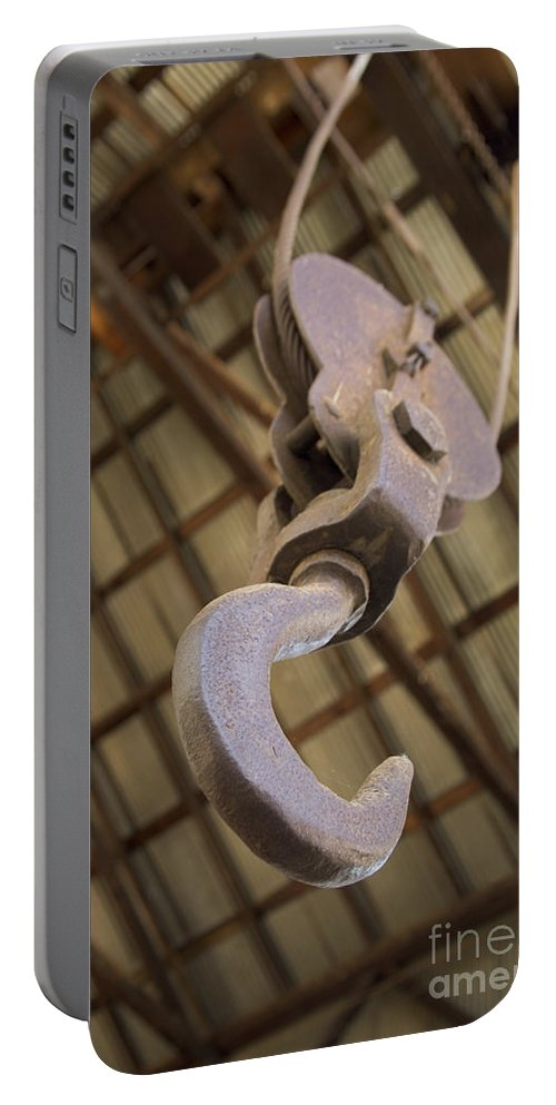 Hook And Pulley Portable Battery Charger featuring the photograph Hook And Pulley by Inga Spence