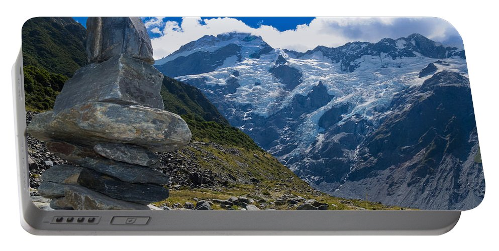 Mount Portable Battery Charger featuring the photograph Hooker Valley Rock Cairn Aoraki Mt Cook Trail Nz by Stephan Pietzko