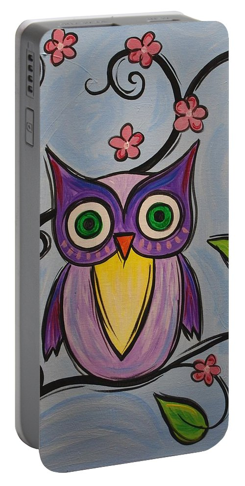 Owl Bird Portable Battery Charger featuring the painting Hootie by Emily Page