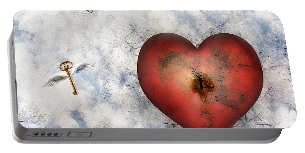 Heart Portable Battery Charger featuring the digital art Hope Floats by Jacky Gerritsen