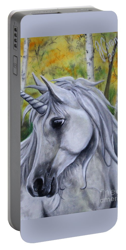 Unicorn Portable Battery Charger featuring the painting Hope by Jose Corona