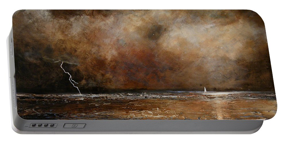 Abstract Portable Battery Charger featuring the painting Hope On The Horizon by Toni Grote