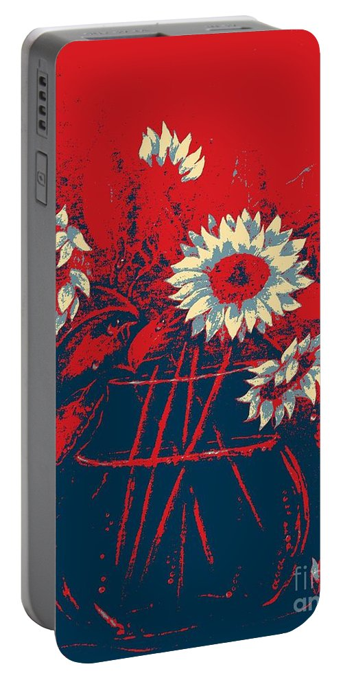 Sunflowers Portable Battery Charger featuring the digital art Hope Sunflowers by Barbara Griffin