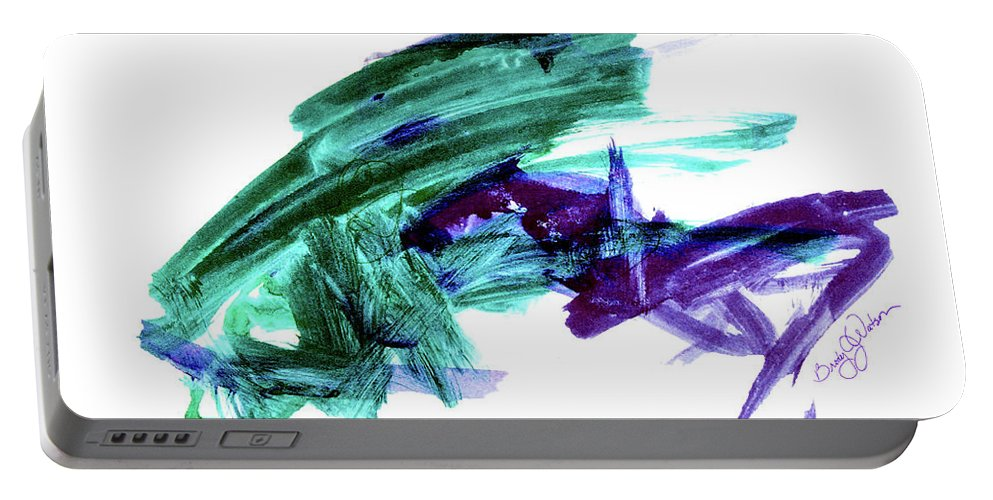 Abstract Frog Art Portable Battery Charger featuring the painting Hopper Collision by Hanne Lore Koehler