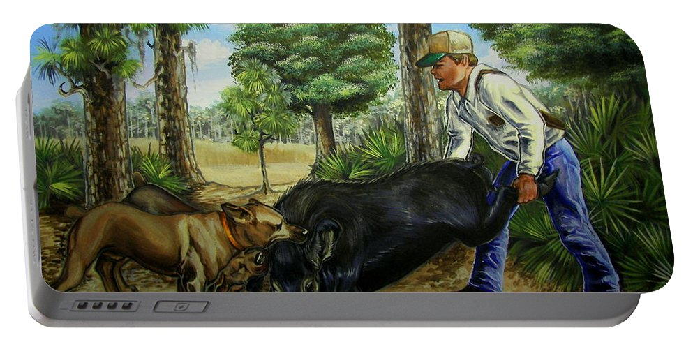 Hog Portable Battery Charger featuring the painting Horace's Hunt by Monica Turner