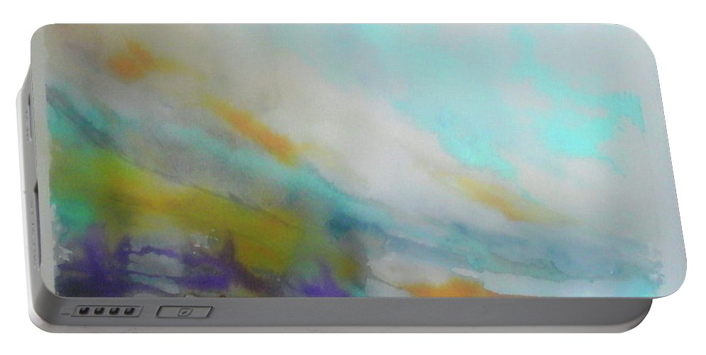Abstract Portable Battery Charger featuring the painting Horizon by Maria Luisa Garcia