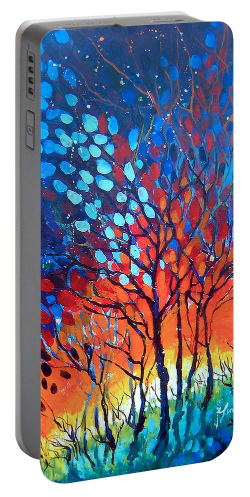 Blue Portable Battery Charger featuring the painting Horizons by Linda Shackelford