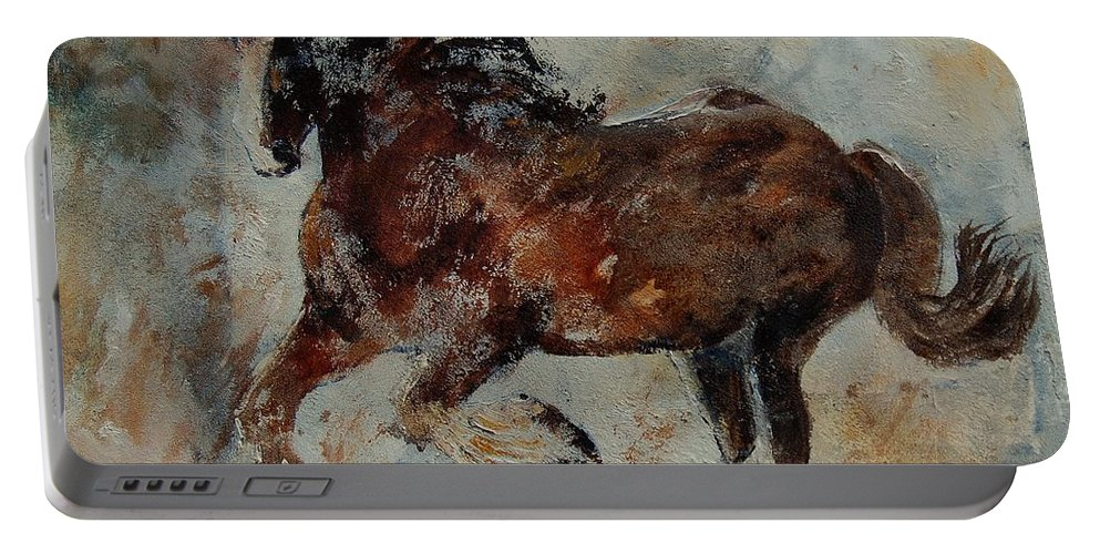 Animal Portable Battery Charger featuring the painting Horse 561 by Pol Ledent