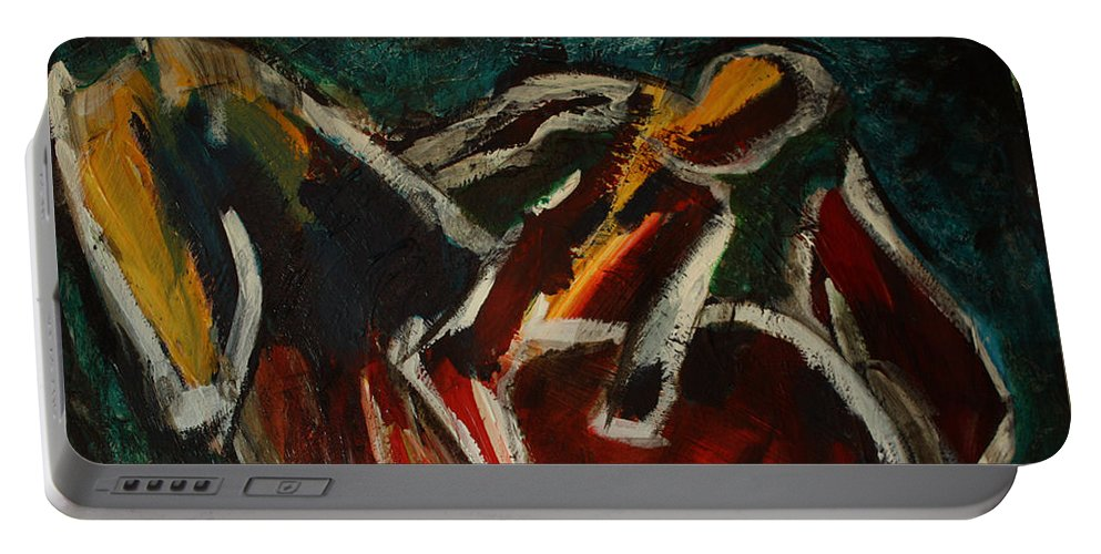 Intuitive Painting Portable Battery Charger featuring the painting Horse And Man by Uwe Hoche