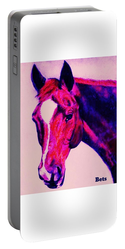 Horse Portable Battery Charger featuring the painting Horse Art Horse Portrait Maduro Deep Pink by Bets Klieger