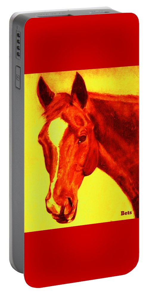 Horse Portable Battery Charger featuring the painting Horse Art Horse Portrait Maduro Deep Yellow And Orange by Bets Klieger