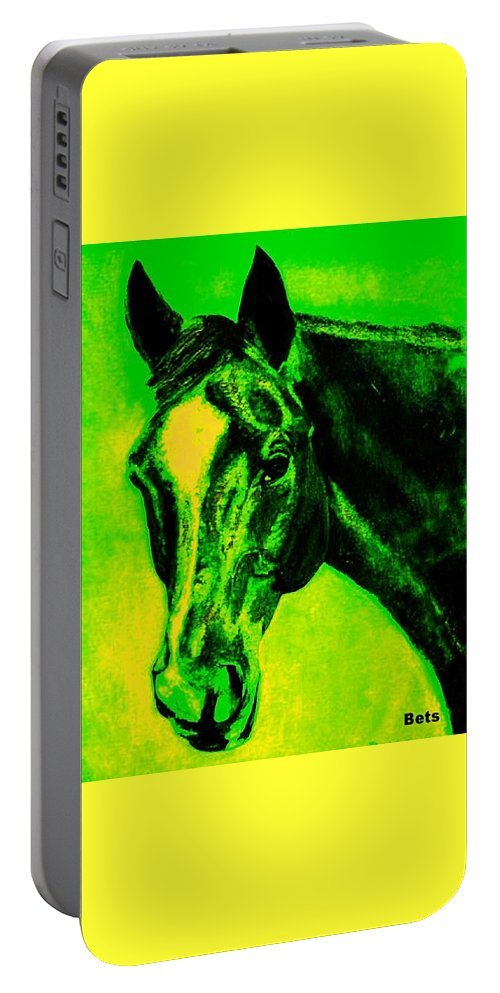 Horse Portable Battery Charger featuring the painting Horse Art Horse Portrait Maduro Green Black And Yellow by Bets Klieger