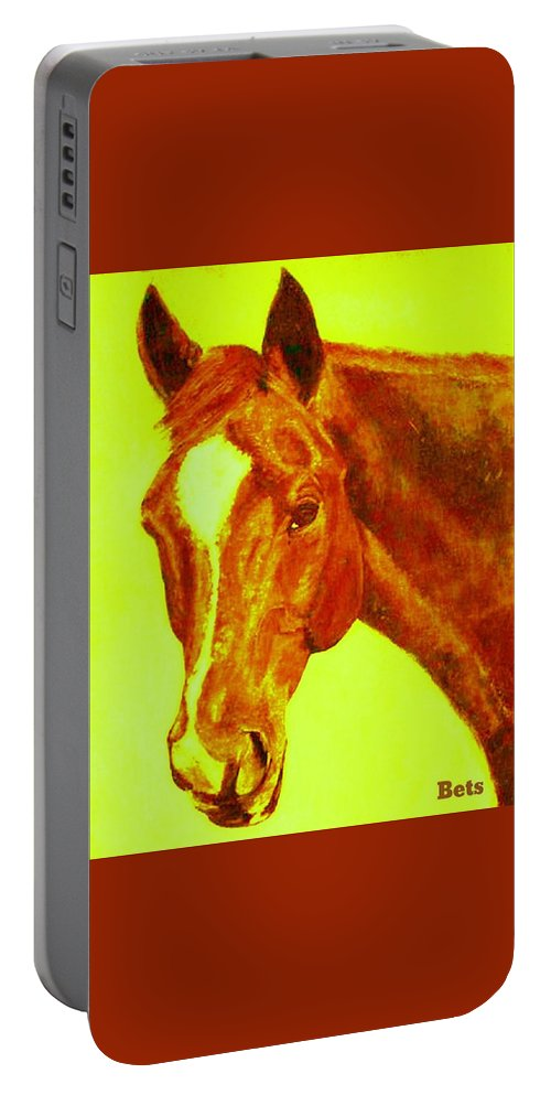 Horse Portable Battery Charger featuring the painting Horse Art Horse Portrait Maduro Orange by Bets Klieger