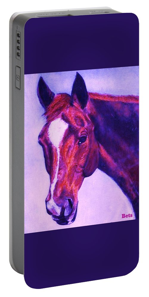 Horse Portable Battery Charger featuring the painting Horse Art Horse Portrait Maduro Pink And Purple by Bets Klieger