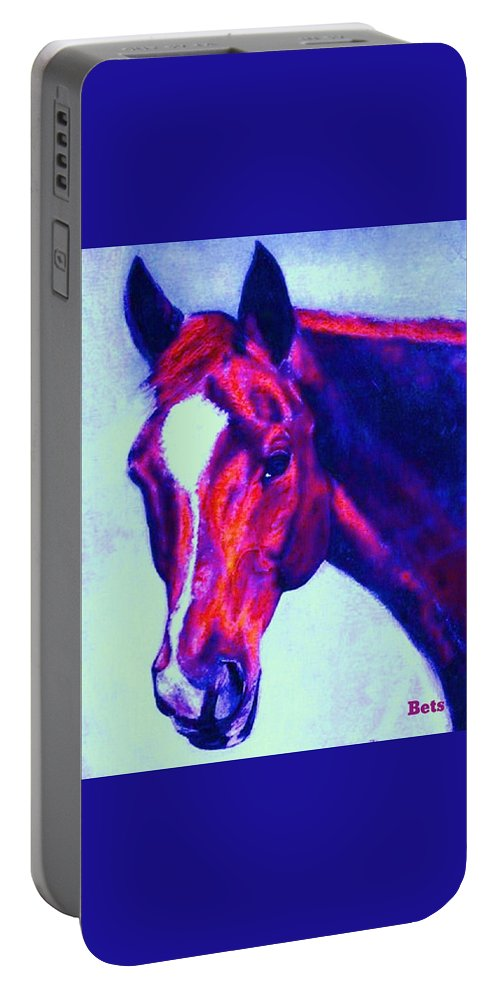 Horse Portable Battery Charger featuring the painting Horse Art Horse Portrait Maduro Psychedelic by Bets Klieger