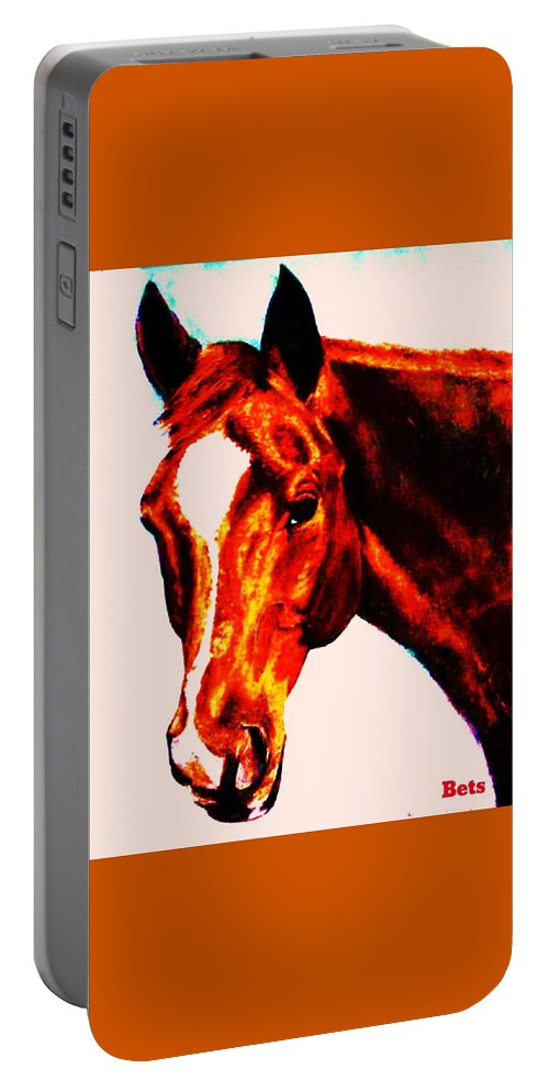 Horse Portable Battery Charger featuring the painting Horse Art Horse Portrait Maduro Red With Yellow Highlights by Bets Klieger