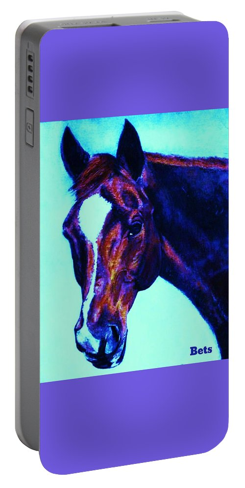 Horse Portable Battery Charger featuring the painting Horse Art Horse Portrait Maduro Striking Purple by Bets Klieger