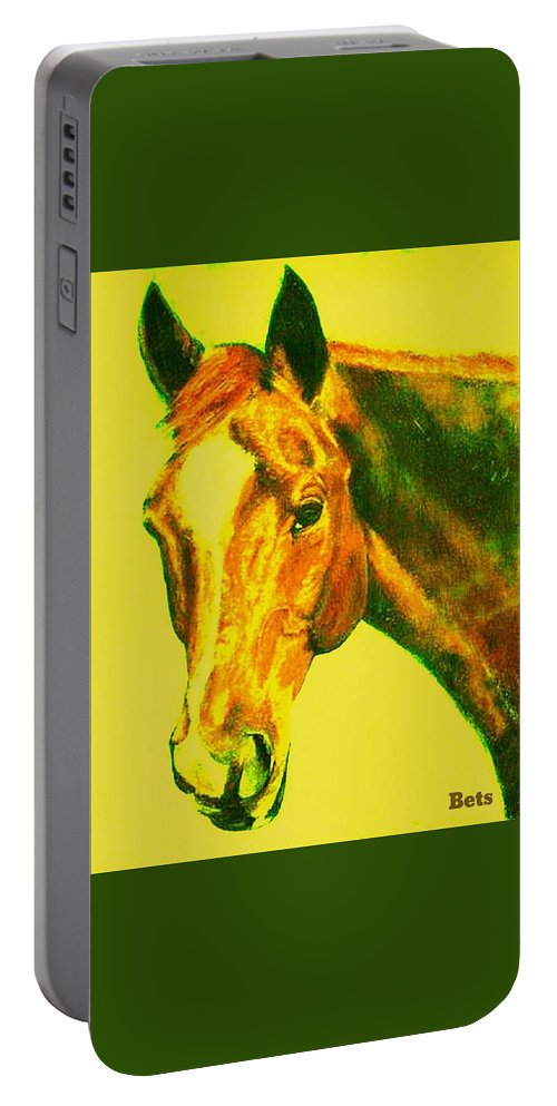 Horse Portable Battery Charger featuring the painting Horse Art Horse Portrait Maduro Yellow by Bets Klieger