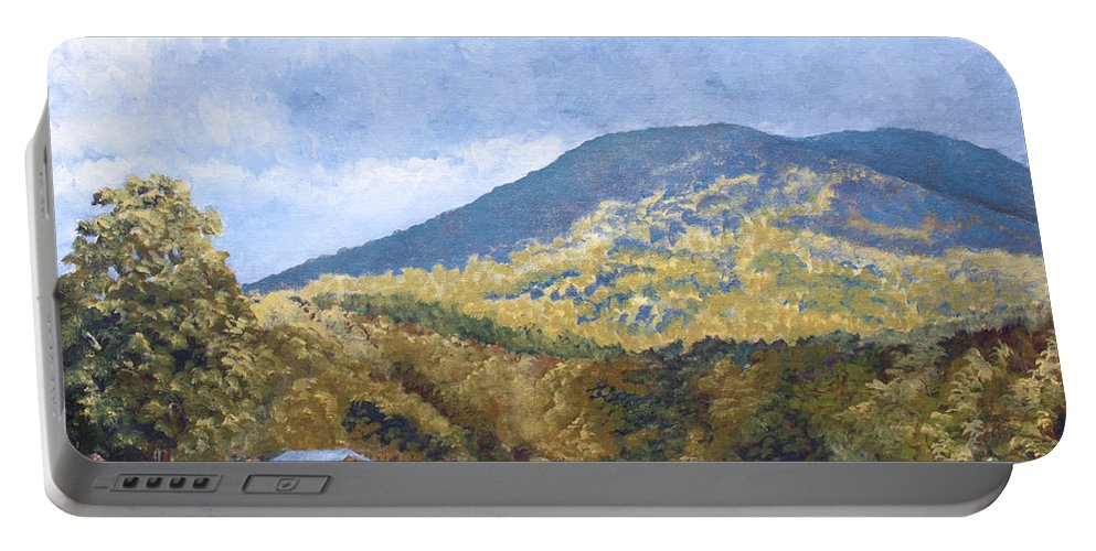 Landscape Portable Battery Charger featuring the painting Horse Barn At Cades Cove by Todd Blanchard