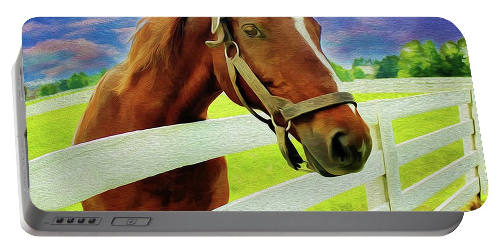 Horse By Nicholas Nixo Efthimiou Portable Battery Charger featuring the painting Horse By Nicholas Nixo Efthimiou by Supreme Inc