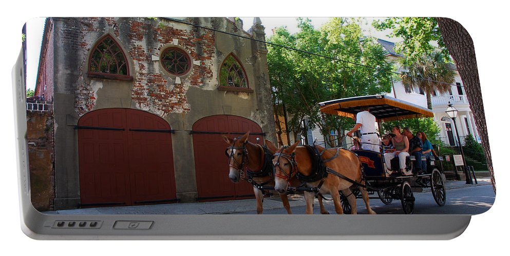 Photography Portable Battery Charger featuring the photograph Horse Carriage At Kings Street by Susanne Van Hulst