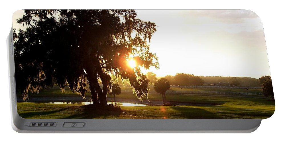 Sunset Portable Battery Charger featuring the photograph Horse Country Sunset by Kristen Wesch
