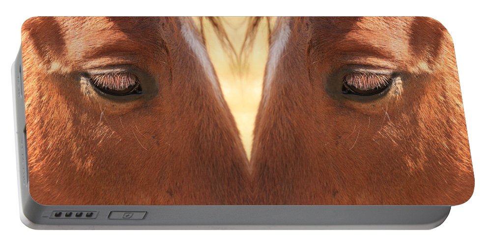 Close-ups-horse-horses Portable Battery Charger featuring the photograph Horse Eyes Love by James BO Insogna