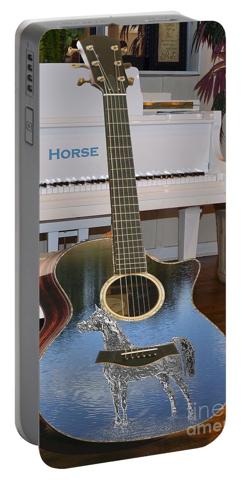 Music Portable Battery Charger featuring the digital art Horse Guitar by Cleotha Williams