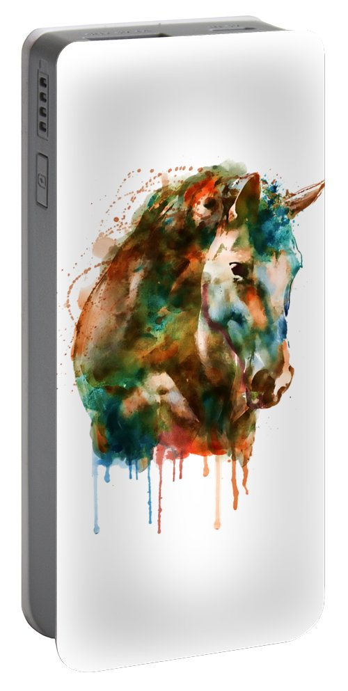 Horse Head Portable Battery Charger featuring the painting Horse Head Watercolor by Marian Voicu