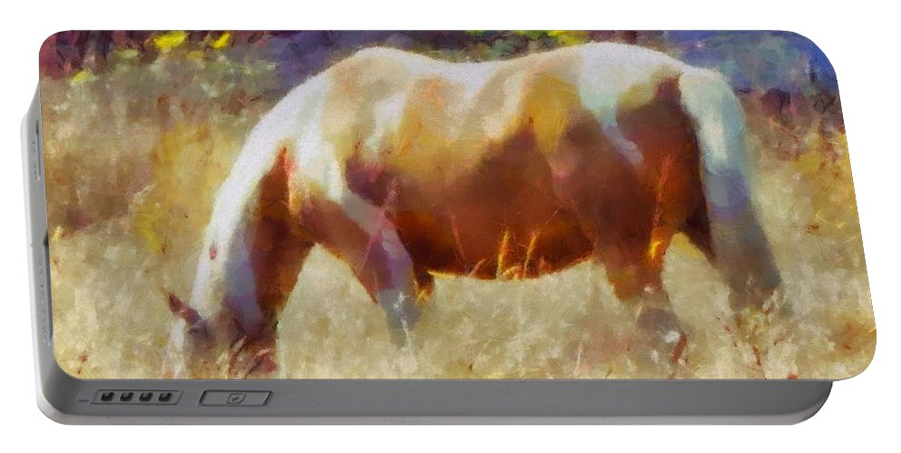 Portable Battery Charger featuring the mixed media Horse In Field by Janet Nielsen